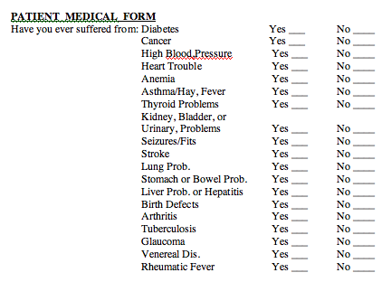 Patient Medical Form