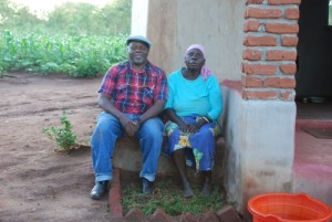 Dr. Tembo with his mother A Enelesi Kabinda or a NyaNthula in the village in Dec. 2011