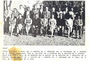 Teaching Staff at Chizongwe Secondary School in 1971. The teachers did a great job.