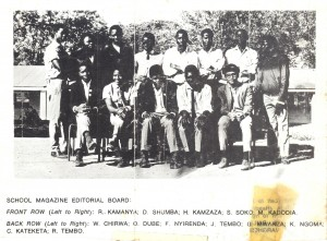 The Editorial Board of the Chizongwe Secondary School Magazine in 1971. Where are they now?