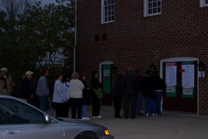 People showed up to vote at  dawn . It was an exciting day.