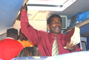 A preacher in a bus in Chipata in Eastern Zambia.